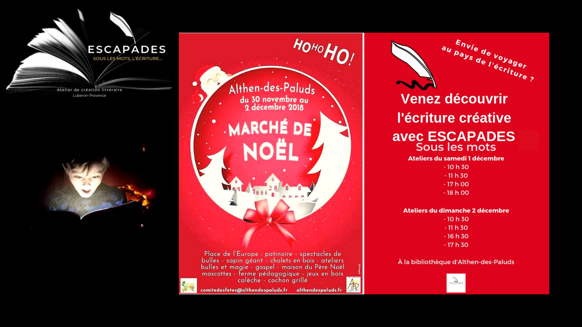 Marché de Noël Althen-des-Paluds : Ateliers découverte de l'écriture créative
