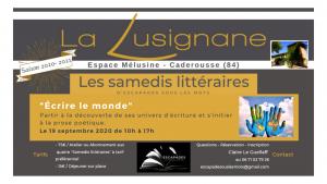 """©Les Samedis Littéraires """"Écrire le monde"""" le 19 septembre 2020"""