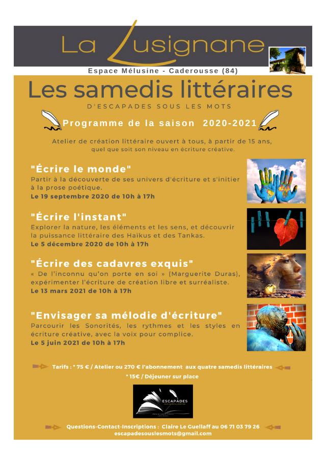ESCAPADES Sous les mots ©Les Samedis Littéraires à La Lusignane 2020-2021