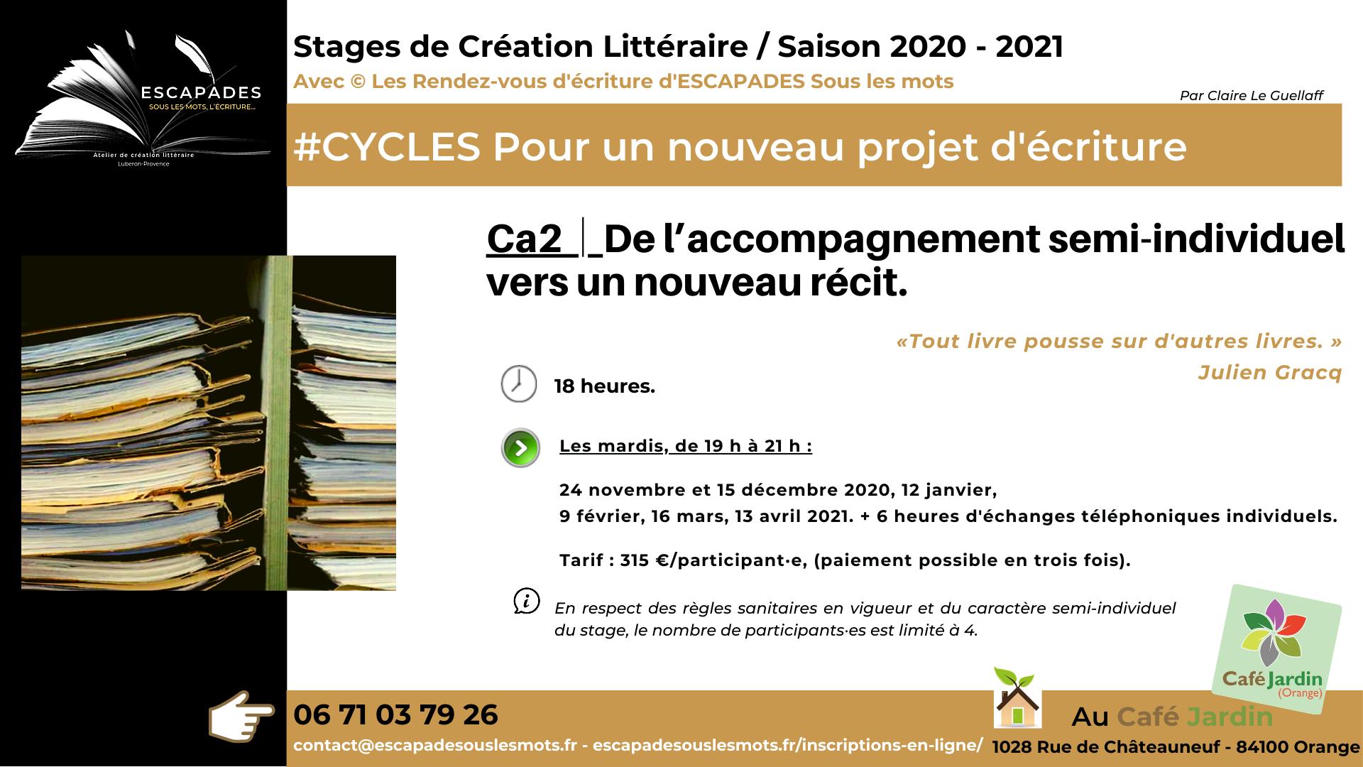 ESCAPADES Sous les mots - #CYCLES Ca2 / Prog Saison 2020-2021Café jardin_2