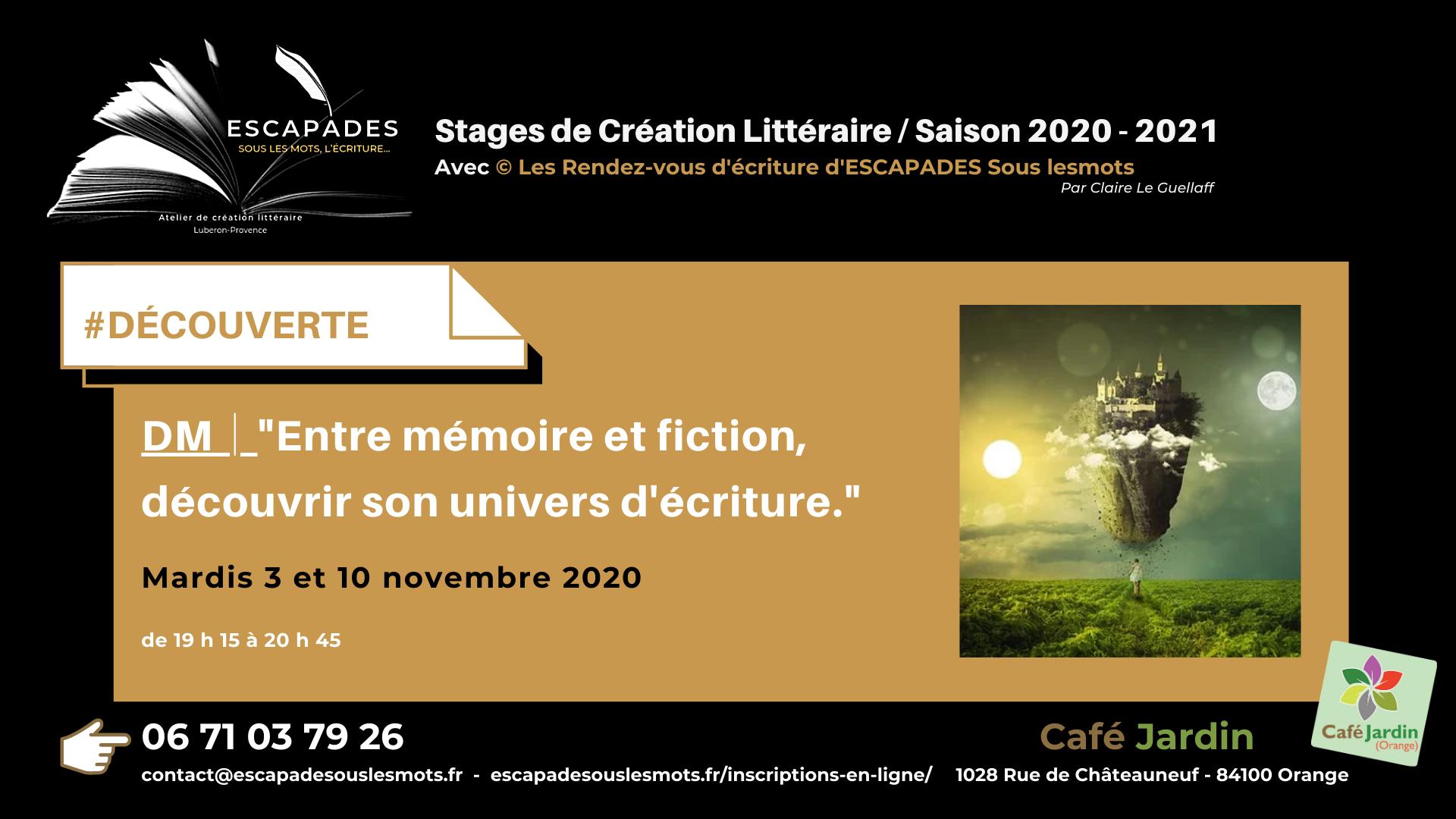 """#DÉCOUVERTE : """"Entre mémoire et fiction, découvrir son univers d'écriture."""" 3 et 10 novembre 2020"""