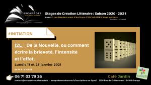 """""""De la Nouvelle, ou comment écrire la brièveté, l'intensité et l'effet."""" 11 et 25 janvier 2021"""