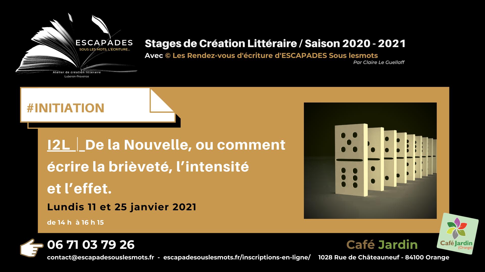 """#INITIATION : """"De la Nouvelle, ou comment écrire la brièveté, l'intensité et l'effet."""" 11 et 25 janvier 2021"""