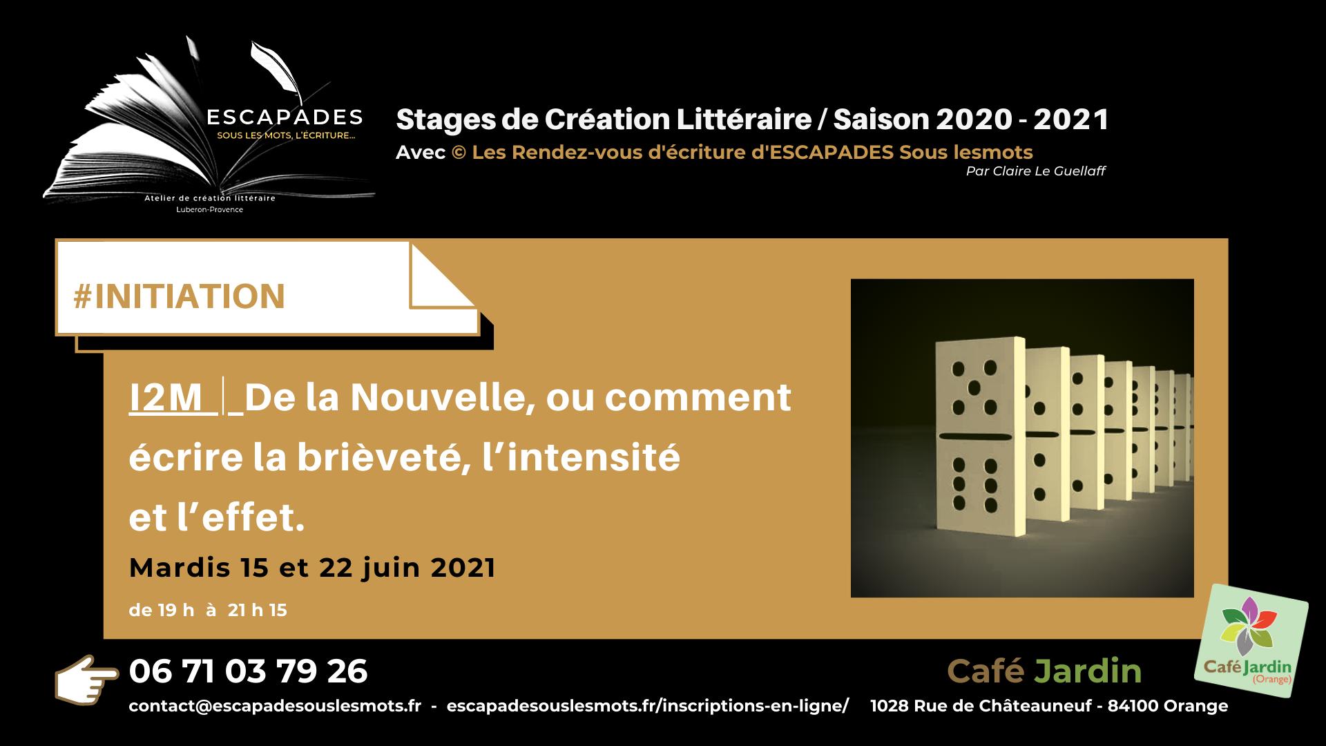 """#INITIATION : """"De la Nouvelle, ou comment écrire la brièveté, l'intensité et l'effet."""" 15 et 22 juin 2021"""