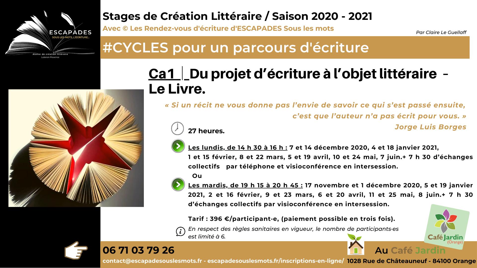 ESCAPADES Sous les mots - #Projet d'écriture à l'objet littéraire CA1/ Prog Saison 2020-2021Café jardin